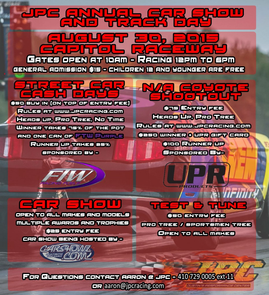 JPC Track Day and Car Show 2015 Flyer