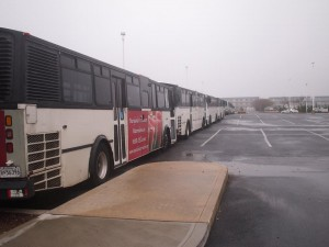 Buses Lining Convention Center