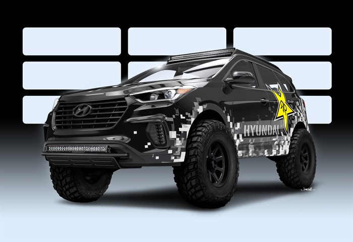 HYUNDAI TEAMS WITH ROCKSTAR PERFORMANCE GARAGE TO CREATE NITROUS-BASED ROCKSTAR SANTA FE CONCEPT OFF-ROADER FOR 2016 SEMA SHOW